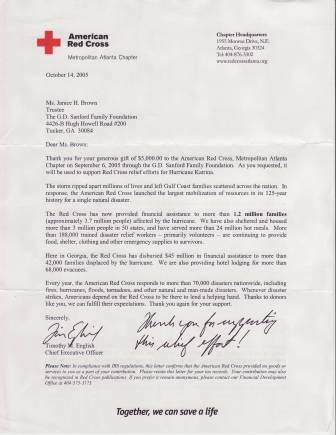 Thank you letter from the Red Cross