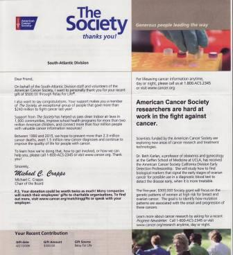 Thank you letter from the American Cancer Society