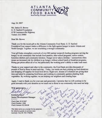 Thank you letter from the American Community Food Bank