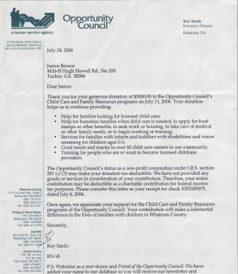 Thank you letter from the Opportunity Council