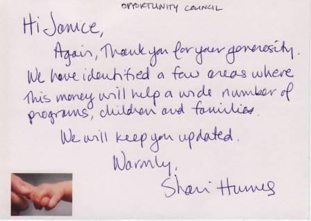 Handwritten thank you note from the Opportunity Council